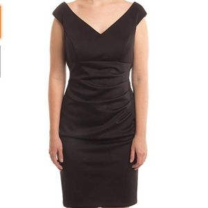 Xscape Black Sleeveless Ruched V-Neck Sheath Dress